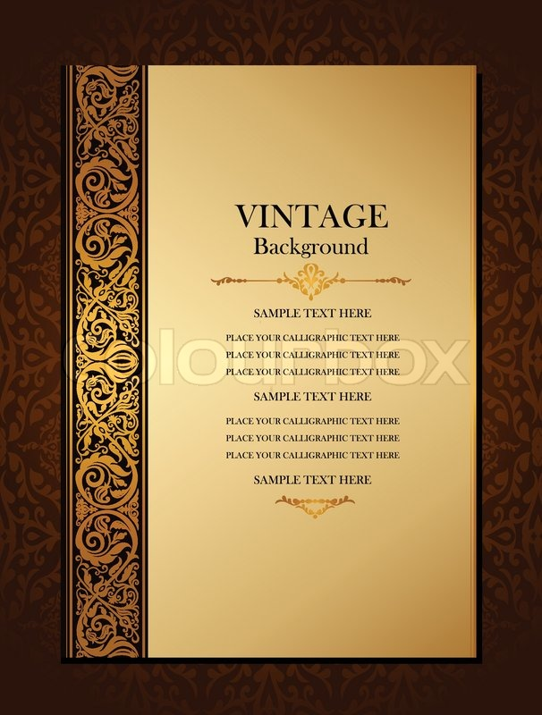 Penguin Book Cover Wedding Invitation Template ~ Vintage background antique victorian gold ornament