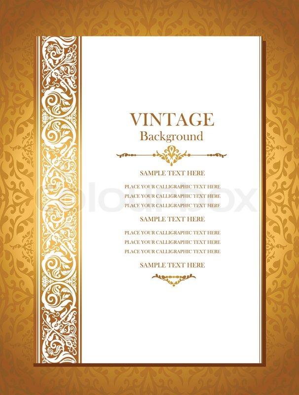 vintage royal background  antique  victorian gold ornament  baroque frame  beautiful wedding