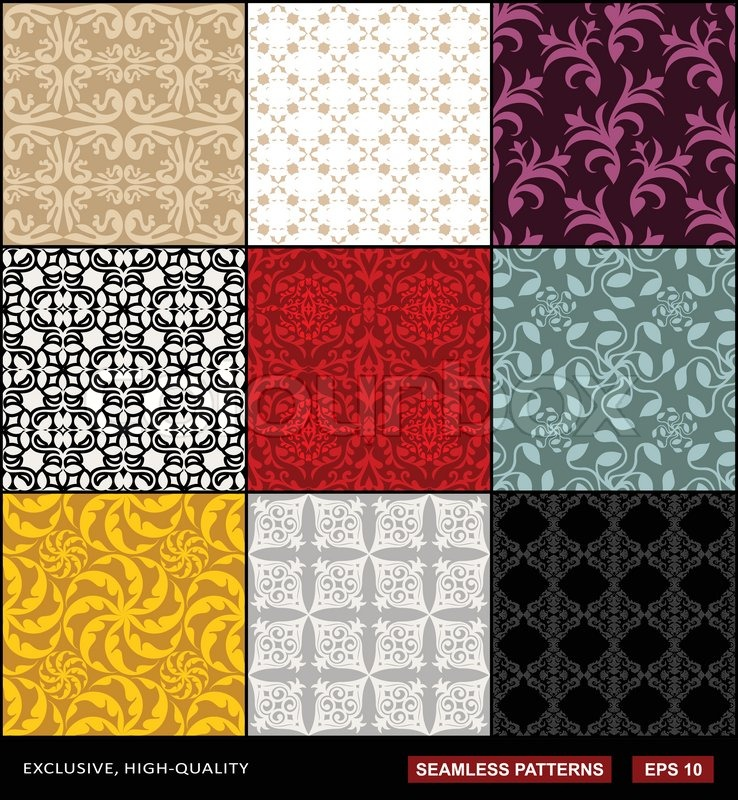 Retro Backgrounds Set Vintage Ornaments Monochrome Seamless Patterns Vector Wallpapers Black Red Purple Gray Beige Cream Blue Yellow Fashion