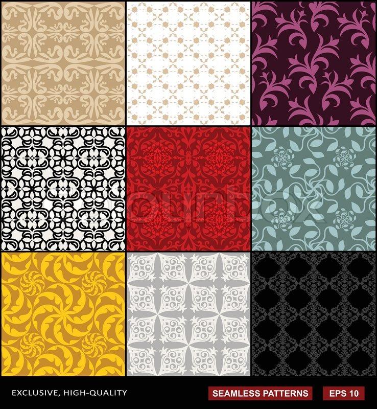 Retro hintergrund festgelegt vintage schmuck monochrome for Muster tapete lila grau