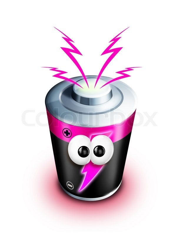 Whimsical Cartoon Battery With Electricity Bolts Stock