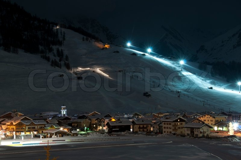 Ski Village At Night With Slope Lights Cross Country Ski