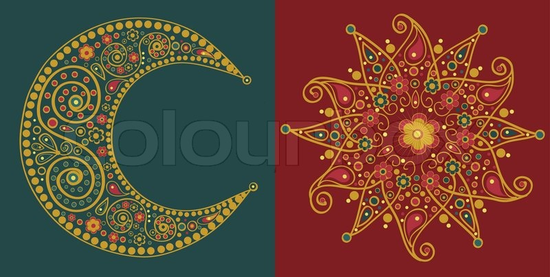 """Stylized sun and moon"" | Stock Vector | Colourbox"