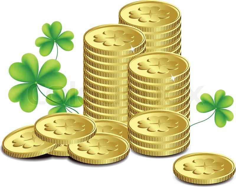 Gold Coins And Leaves Of Clover St Patricks Day Celebration Vector
