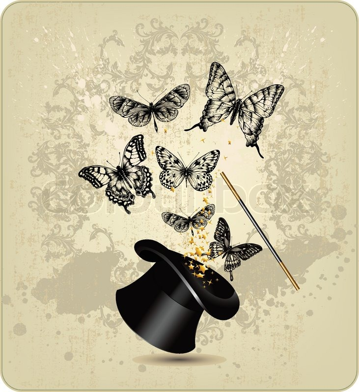 magic wand and hat with butterflies on a vintage background stock vector colourbox. Black Bedroom Furniture Sets. Home Design Ideas