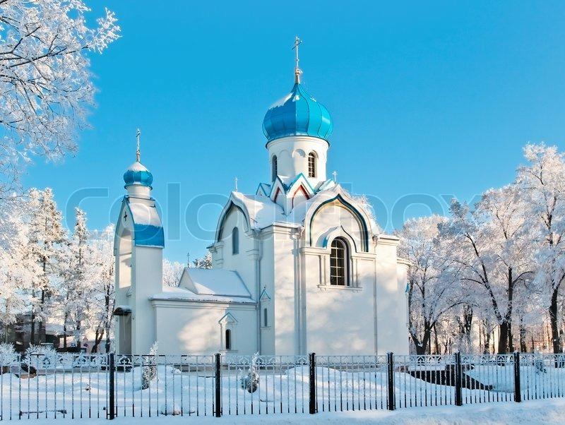 church in winter scenery  daugavpils  latvia