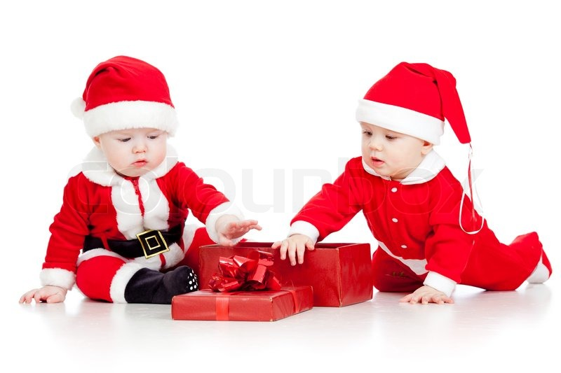 two funny small kids in santa claus clothes with gift box stock photo colourbox - Small Kids Images