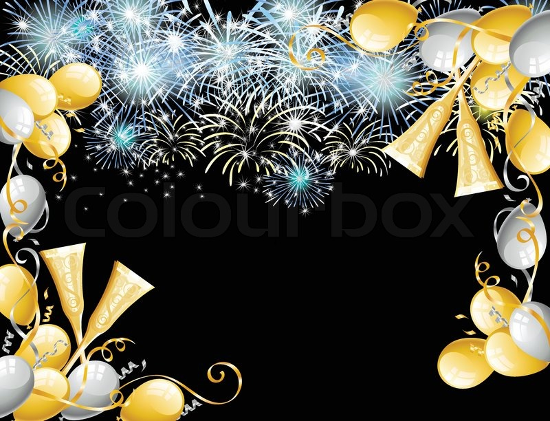 Balloons And Fireworks To Celebrate Stock Vector