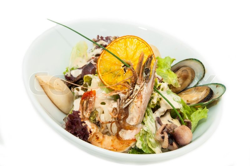 ... Salad, Sea Food, Seafood, Seafood Salad, Shrimp, Squid,, stock photo