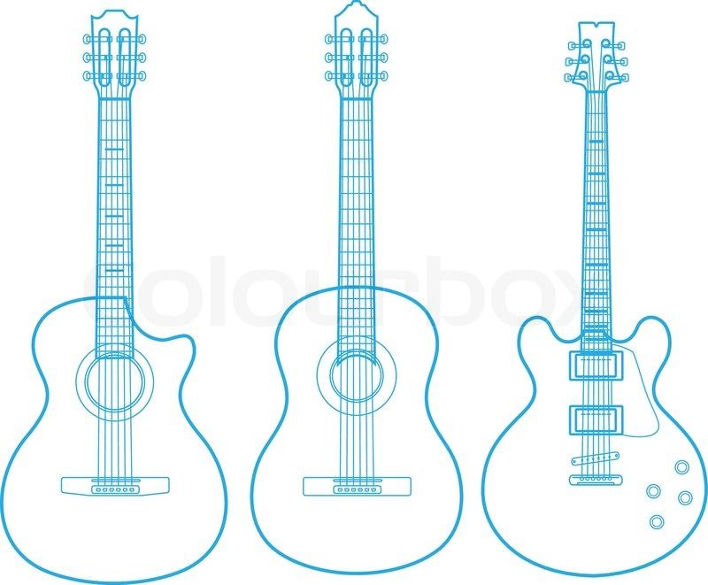 vector silhouettes of classic guitars isolated on white stock