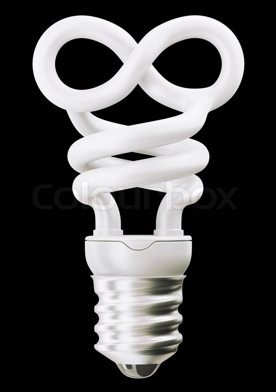 Infinity Symbol Light Bulb Isolated On Black Stock Photo Colourbox