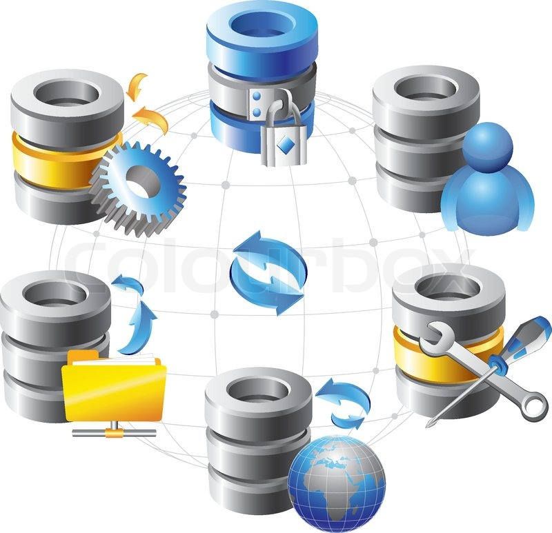 Database Web Hosting Icons Stock Vector Colourbox