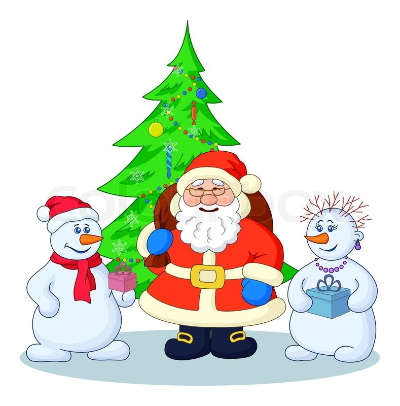 Santa Claus, Christmas tree and snowmans | Stock Photo | Colourbox