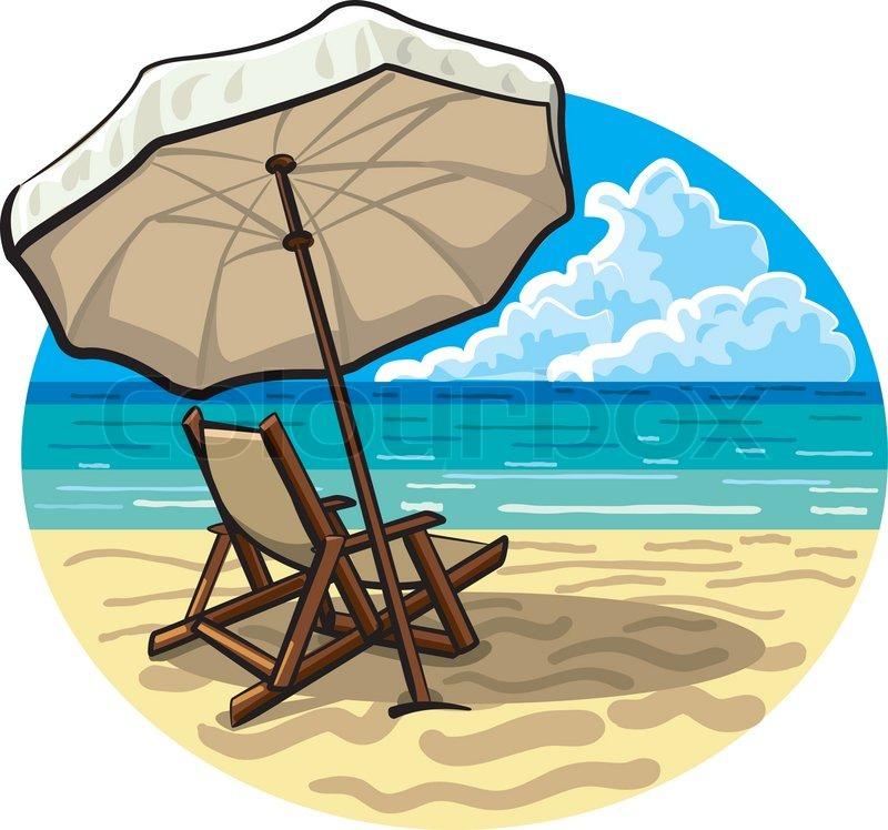 Sonnenschirm strand comic  Liegestuhl und Sonnenschirm | Vektorgrafik | Colourbox