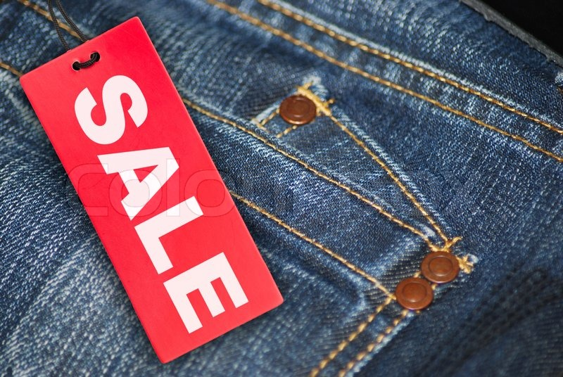 jeans with sale tag stock photo colourbox