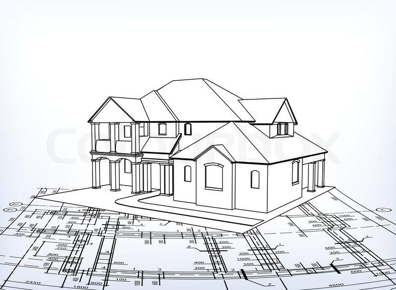 Haus vektor technische zeichnen vektorgrafik colourbox for Haus zeichnen 3d