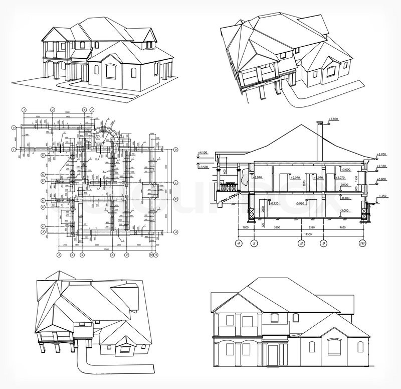 Set houses and blueprint vector stock vector colourbox malvernweather Choice Image