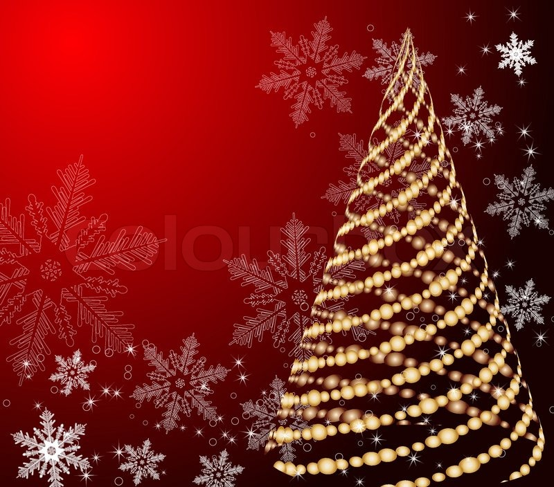 stylized vector gold christmas tree on decorative background
