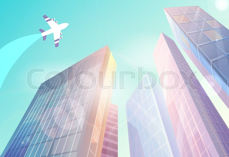 Urban View With High Raise Buildings Stock Vector Colourbox