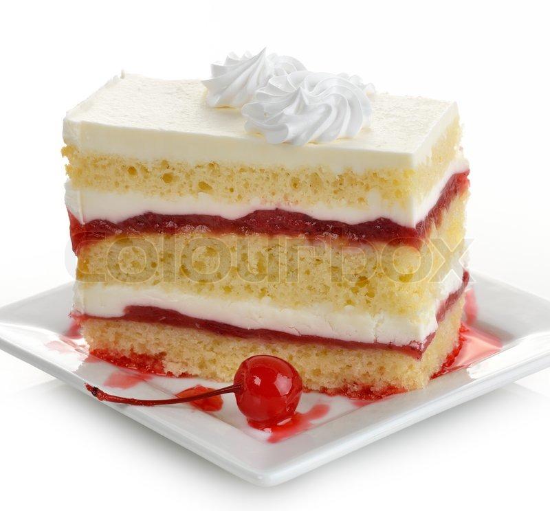 sc 1 st  Colourbox & Strawberry Cake Slice On A White Plate | Stock Photo | Colourbox