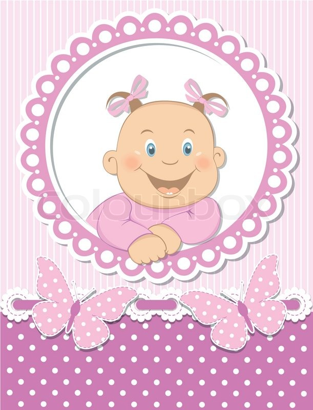 Happy baby girl scrapbook pink frame | Stock Vector | Colourbox