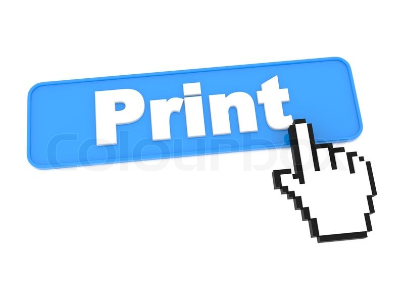 Print Button and Hand Cursor | Stock Photo | Colourbox