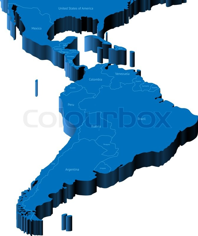 3d map of Latin America Countries of