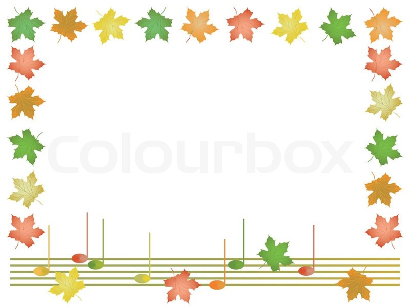 frame from leaves of maple and musical notes stock vector colourbox - Music Note Picture Frame