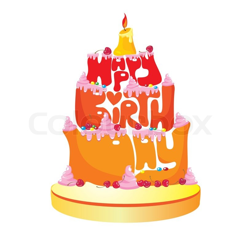 Cake Formed From Happy Birthday Text On White Background Stock