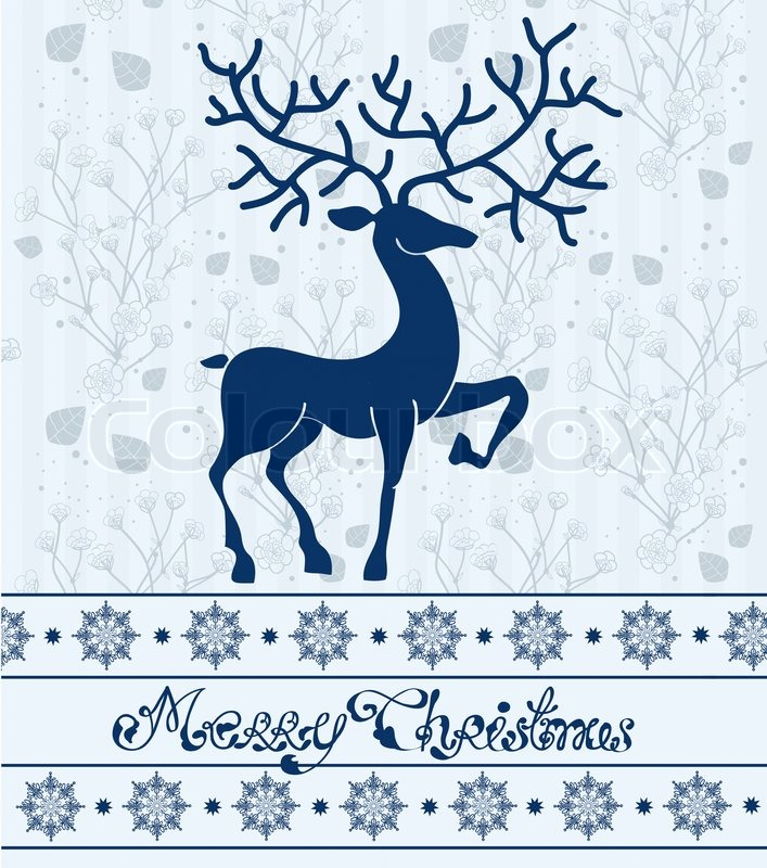 Christmas deer card with text Merry Christmas  Stock Photo