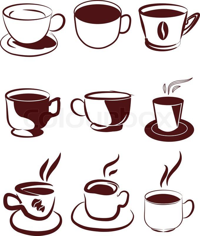 Kaffee Icons Set Vektorgrafik Colourbox