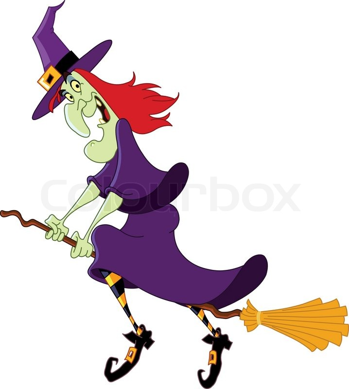Cartoon witch flying on her broomstick | Vector | Colourbox