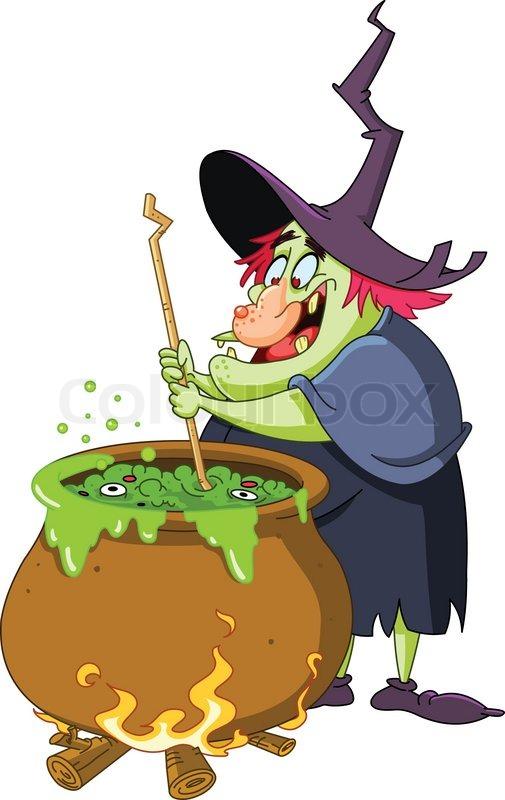 Hexe einen Trank Brauen vorbereiten | Vektorgrafik | Colourbox