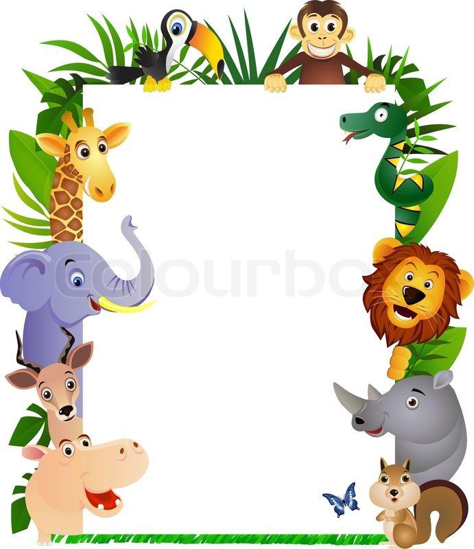 Animal Cartoon With Blank Sign Stock Vector Colourbox