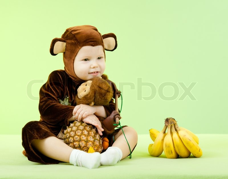 sc 1 st  Colourbox & Baby girl in monkey costume | Stock Photo | Colourbox