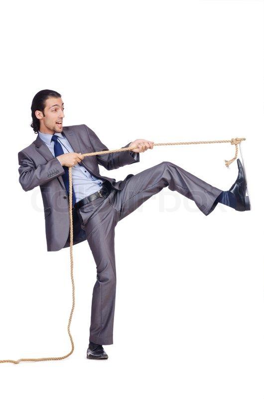 businessman pulling rope on white stock photo colourbox