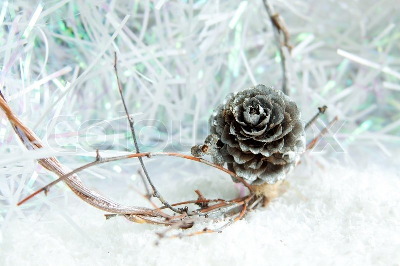 Silver Pine Cone On White Christmas Background Stock