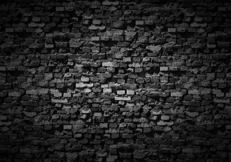 Gloomy brickwall background stock photo colourbox for Black 3d brick wallpaper