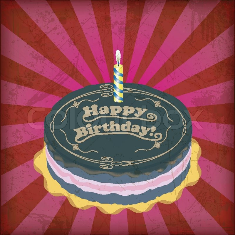 Vintage birthday cake with Grunge Effect Stock Vector ...