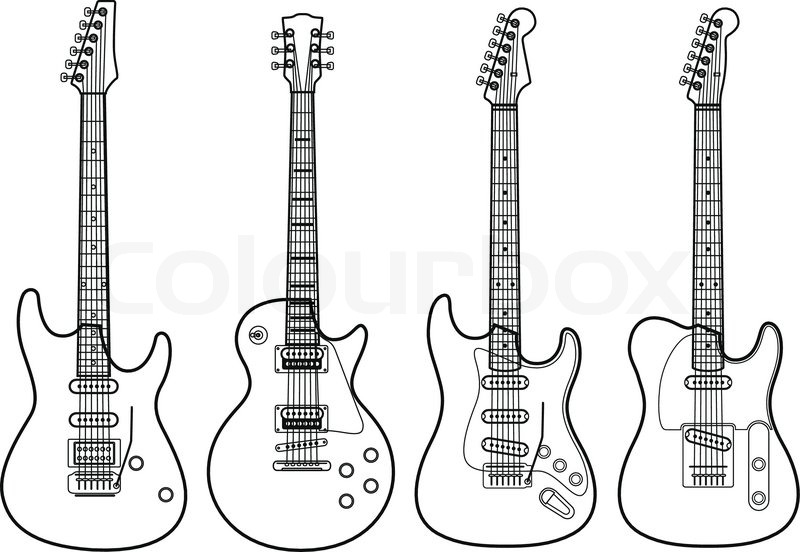 Vector Silhouettes Of Electric Guitars Stock Vector Colourbox
