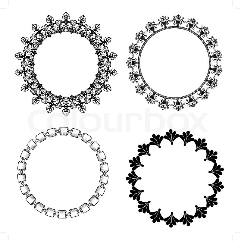 A set of round frames with ornament | Stock Vector | Colourbox
