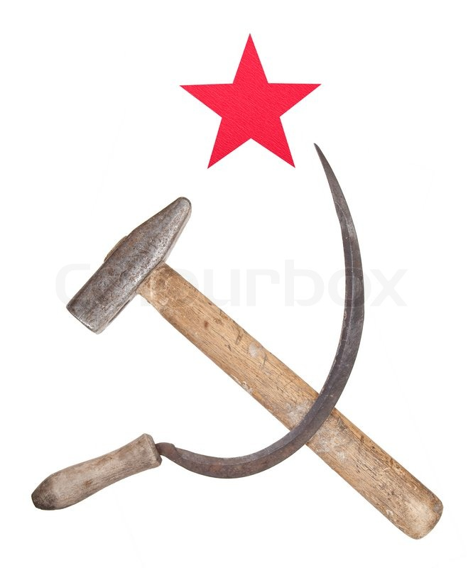Soviet Symbols Of The Hammer And Sickle With A Red Star Stock