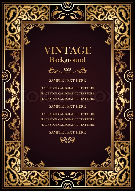 Vintage Burgundy Background Antique Gold Frame Victorian