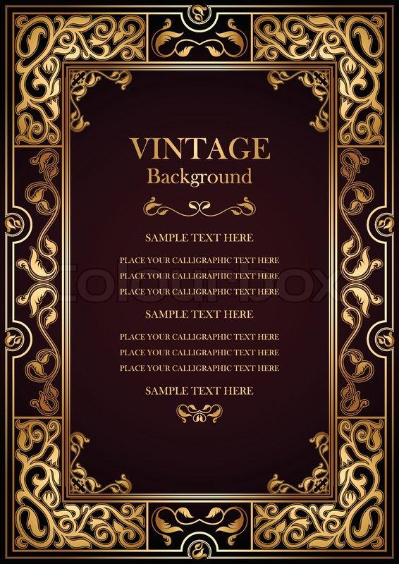 Vintage burgundy background, antique gold frame, victorian ornament ...