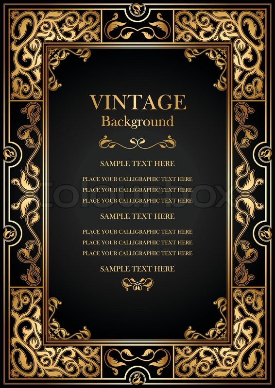 Vintage Black Background Antique Gold Stock Vector