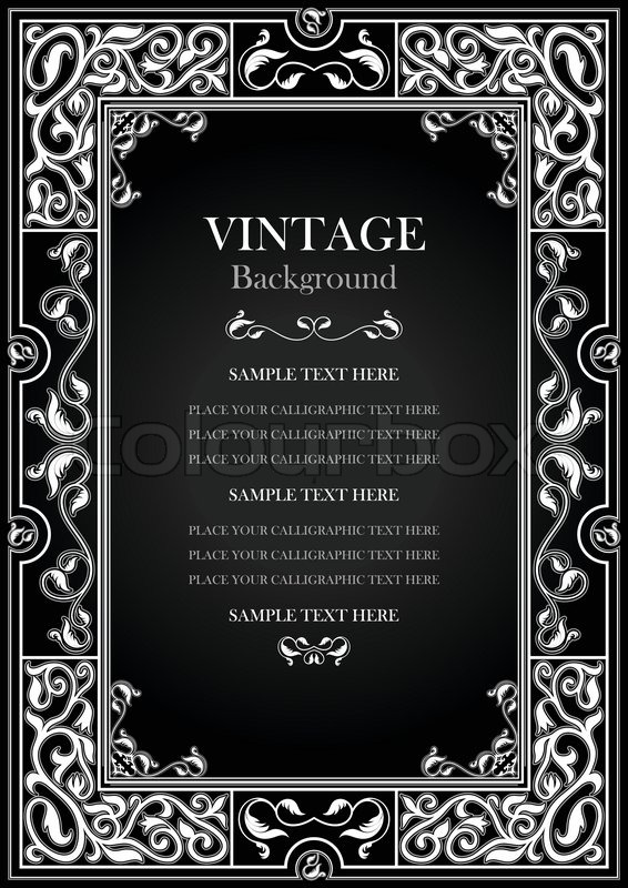 Stock Vector Of Vintage Black Background Antique White Frame Victorian Ornament Beautiful