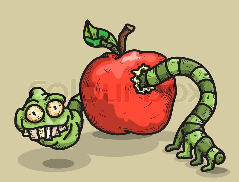 Apple Worm Car Vector of 'worm And Apple'