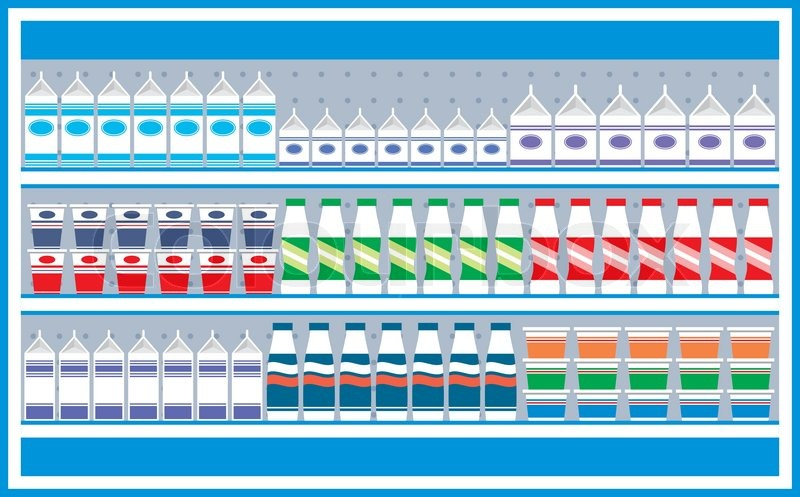 Supermarket Shelves With Dairy Products Stock Vector