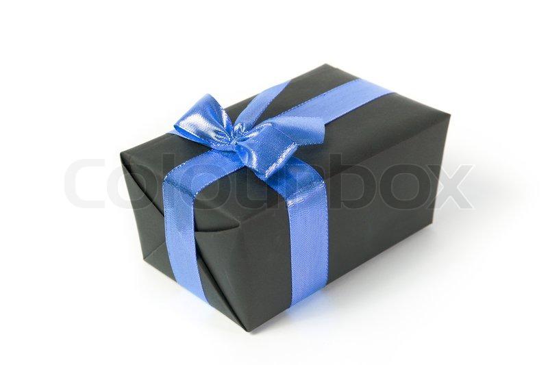 black gift box with blue ribbon stock photo colourbox