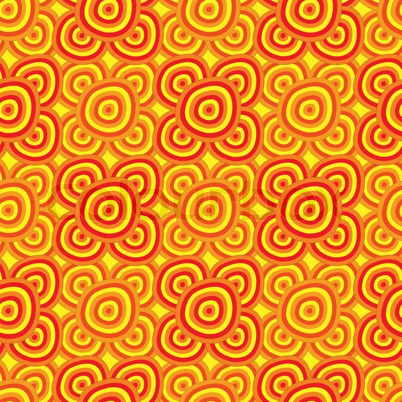Seamless background - African motifs, circles in yellow